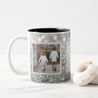 Gray Glitter 2 Pictures w/Text Design Your Own Two-Tone Coffee Mug