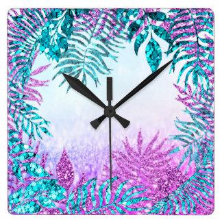Gray Glitter Fuchsia Glitter Blue Floral Pink Rose Square Wall Clock