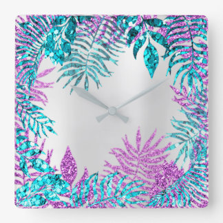 Gray Glitter Fuchsia Spark Blue Floral Pink Rose Square Wall Clock