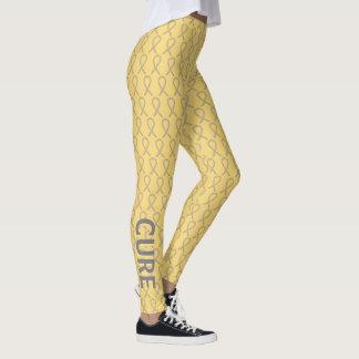 Gray & Gold Awareness Ribbon Hope & Cure Leggings