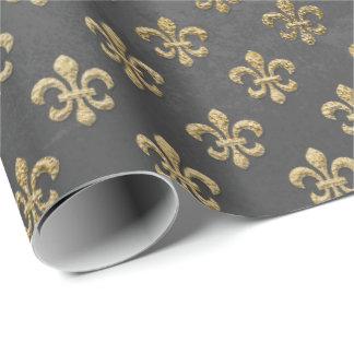 Gray Gold Grungy Fleur De Lis Royal Graphite Wrapping Paper
