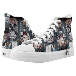 Gray Graffiti High Top Shoes