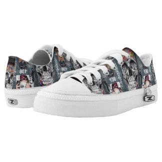Gray Graffiti Low Top Shoes