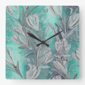 Gray Graphite Aquatic Teal Floral Butterfly Square Wall Clock