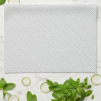 Gray Greek Key Pattern Kitchen Towel