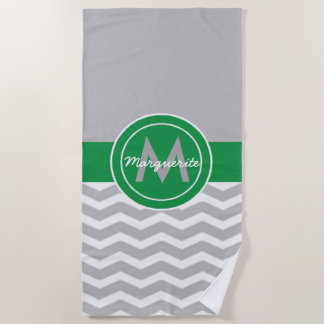 Gray Green Chevron Beach Towel
