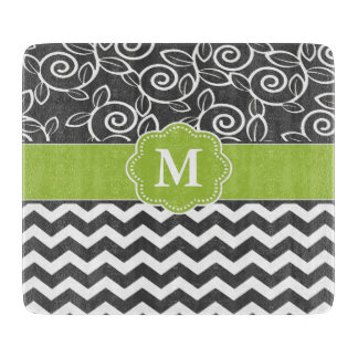 Gray Green Chevron Monogram Boards