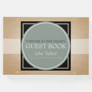 Gray Green Circle B Square Tag Memorial Guest Book