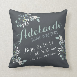 Gray Green Floral Nursery Keepsake Throw Pillow