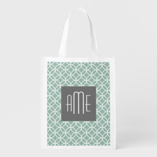 Gray Green Geometric Pattern with Monograms Reusable Grocery Bag