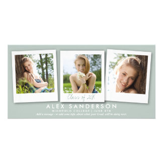 Gray Green Instant Style Photo Graduation Card