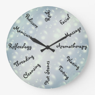 Gray / Grey Bubbles Beauty Therapy design Large Clock