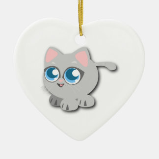 Gray/Grey Cat with Big Blue Eyes and Short Legs Ceramic Ornament