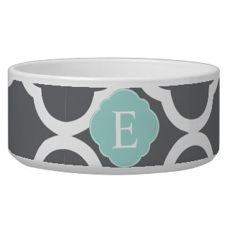 Gray Grey Mint Quatrefoil Monogram