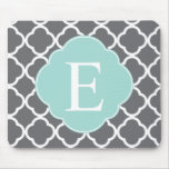 Gray Grey Mint Quatrefoil Monogram Mouse Pads