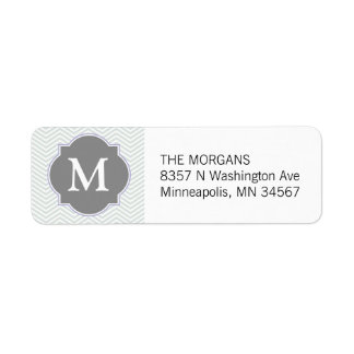 Gray & Grey Modern Chevron Custom Monogram Return Address Label