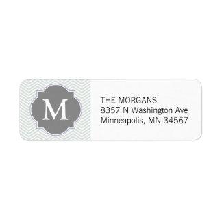 Gray & Grey Modern Chevron Custom Monogram Return Address Label
