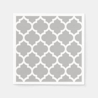 Gray Grey White Moroccan Quatrefoil Pattern #5 Disposable Napkin
