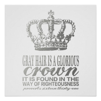 Gray hair is a glorious crown, silver scripture poster