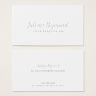 gray handwritten cursive minimal feminine white business card