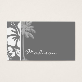 Gray Hawaiian Tropical Hibiscus; Summer Palm Business Card