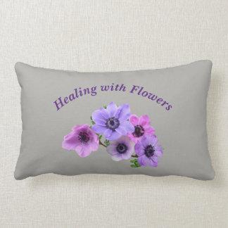 Gray Healing with Flowers Anenome design Lumbar Pillow