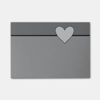 Gray Heart Love Slate Grey Post It Sticky Note
