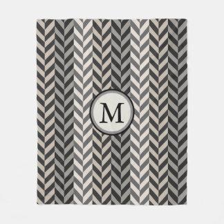 Gray Herringbone Alternating Stripes Monogram Fleece Blanket