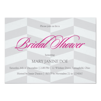 "Gray Herringbone Bridal Shower Fuschia 4.5"" X 6.25"" Invitation Card"