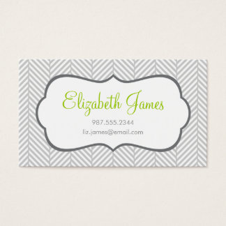 Gray Herringbone Business Card