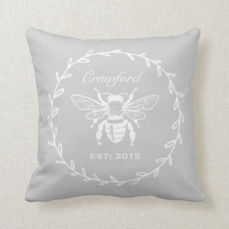 Gray Honey Bee Laurel Honeycomb Monogram Throw Pillow