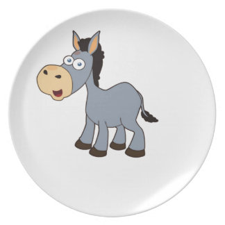 gray horse art party plate