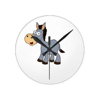 gray horse art wallclock
