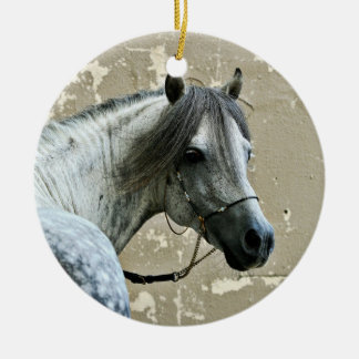 Gray Horse Head Ceramic Ornament