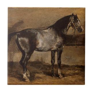 Gray horse rack by Theodore Gericault Tile