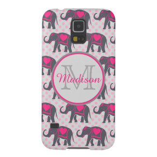 Gray Hot Pink Elephants on pink polka dots, name Case For Galaxy S5
