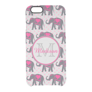 Gray Hot Pink Elephants on pink polka dots, name d Clear iPhone 6/6S Case