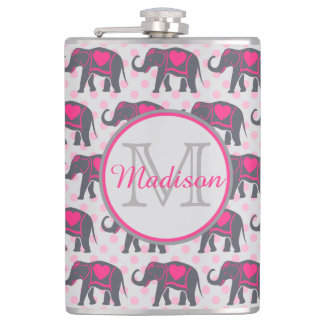 Gray Hot Pink Elephants on pink polka dots, name Flasks