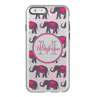 Gray Hot Pink Elephants on pink polka dots, name Incipio Feather® Shine iPhone 6 Case