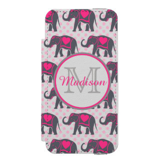 Gray Hot Pink Elephants on pink polka dots, name Incipio Watson™ iPhone 5 Wallet Case