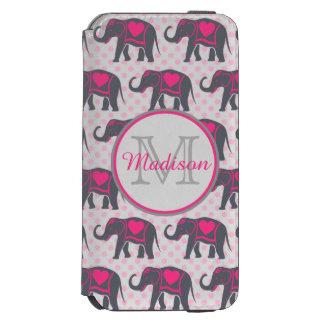 Gray Hot Pink Elephants on pink polka dots, name Incipio Watson™ iPhone 6 Wallet Case