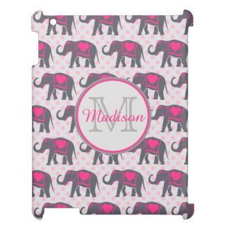 Gray Hot Pink Elephants on pink polka dots, name iPad Covers