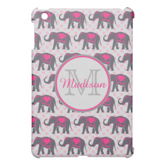 Gray Hot Pink Elephants on pink polka dots, name iPad Mini Cases
