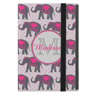 Gray Hot Pink Elephants on pink polka dots, name iPad Mini Cover