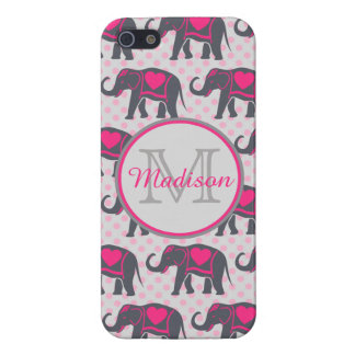 Gray Hot Pink Elephants on pink polka dots, name iPhone 5/5S Covers