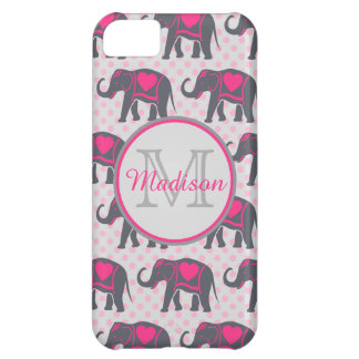 Gray Hot Pink Elephants on pink polka dots, name iPhone 5C Cover