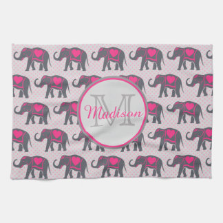 Gray Hot Pink Elephants on pink polka dots, name Kitchen Towel