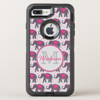 Gray Hot Pink Elephants on pink polka dots, name OtterBox Defender iPhone 7 Plus Case