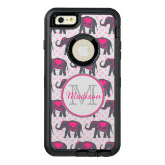 Gray Hot Pink Elephants on pink polka dots, name OtterBox Defender iPhone Case