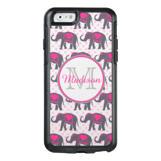 Gray Hot Pink Elephants on pink polka dots, name OtterBox iPhone 6/6s Case